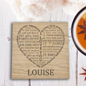 personalised wooden i love you coaster