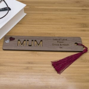 Personalised Engraved Wooden Bookmark for Mum