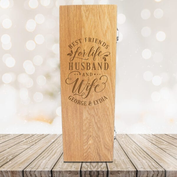 Personalised Luxury Wooden Wine Presentation Box - Best Friends for Life