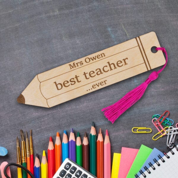 Personalised Engraved Wooden Bookmark teacher gift