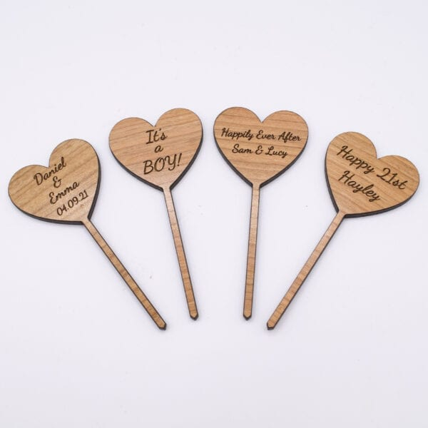 wooden personalised cupcake toppers