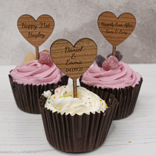 wooden heart cupcake toppers