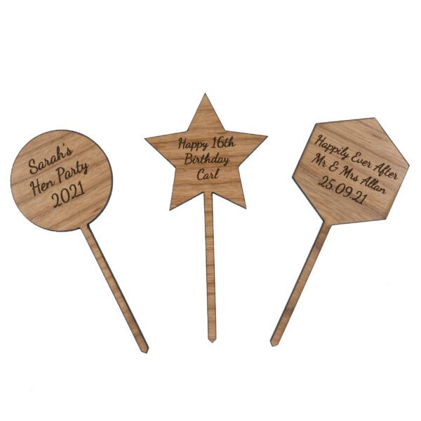 wooden shape cupcake toppers