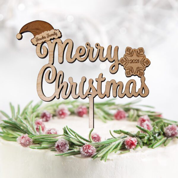 wooden merry christmas cake topper personalised
