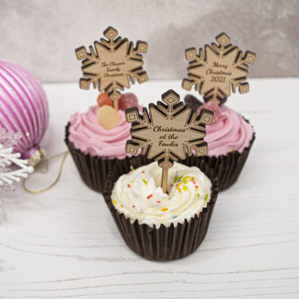 wooden snowflake cupcake toppers